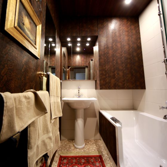 Blick auf das länglich geschnittene Bad mit Duschwanne, Waschtisch, Spiegelschrank und Wandverkleidungen aus Leder