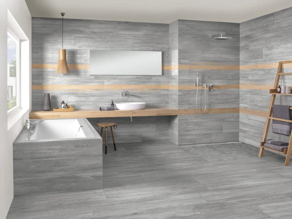 Betonoptik in Kombination mit Holz - Installateur Riedel 19 Wien
