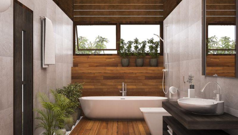 Betonoptik in Kombination mit Holz Neuheiten und Trends: Bad in Betonoptik kombiniert mit lebhaft gemaserter Holzwand und Holzboden