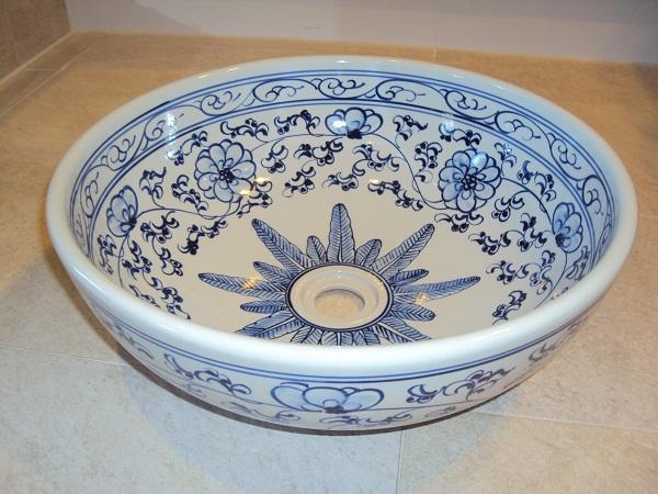 Aufsatz-Waschbecken Aufsatz-Waschbecken Priori weiß mit blauem Dekor