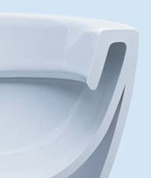 WC mit unglasiertem Spülrand, wo sich Schmutz festsetzen kann