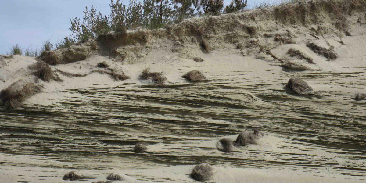 Sanddüne im Baltikum, die durch Wind und Wetter zu interessanten Rillenformationen zusammengepresst wurde