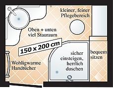 Badgrundriss für Duschbad mit Runddusche und Eck-Waschtisch-Loesung