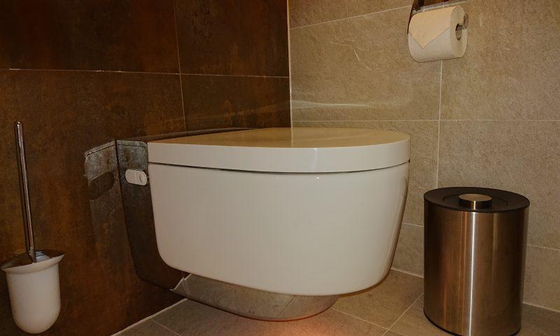 WC-Accessoires wie Rollenhalter, WC-Bürste zur Wandmontage und Abfalleimer