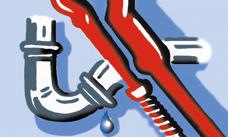 Symbolbild das Rohrzange und tropfenden Wasserablauf mit Siphon zeigt